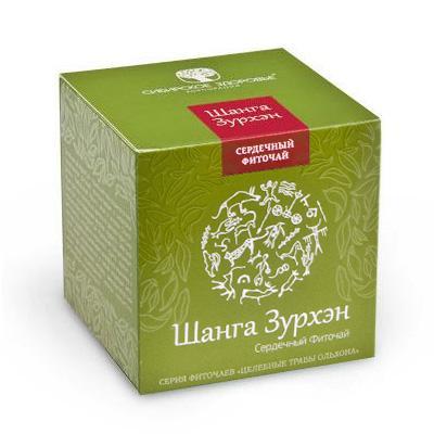 БАД Фиточай Шанга Зурхэн (Сильное сердце) зеленая упаковка